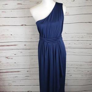 Asos one shoulder Navy blue Open back gown